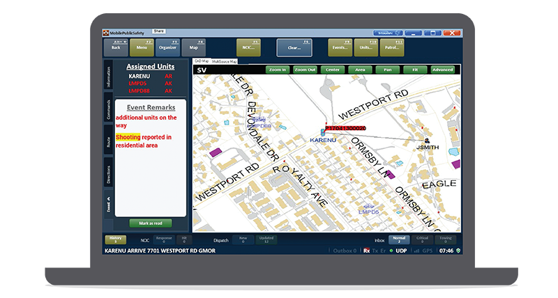 Screenshot of Intergraph Mobile for Public Safety on a laptop