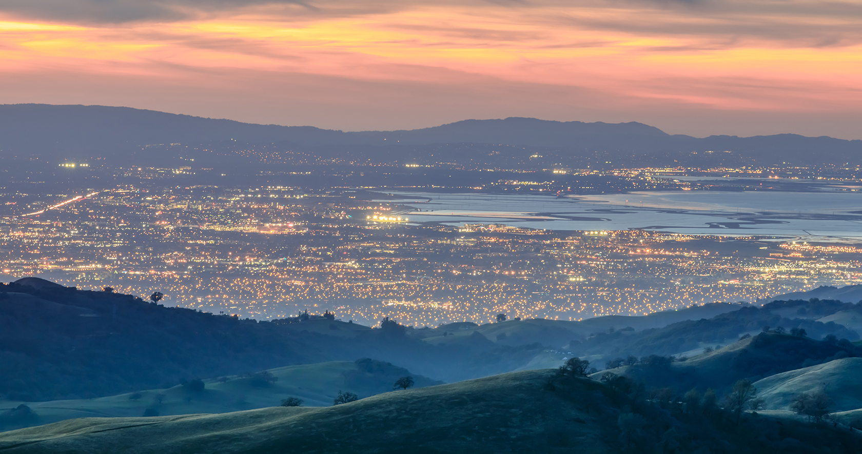 Santa Clara Valley at dusk as seen from Lick Observatory in Mount Hamilton east of San Jose, Santa Clara County, California, USA
