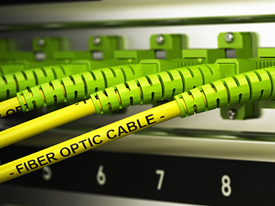Closeup fiber optic cables