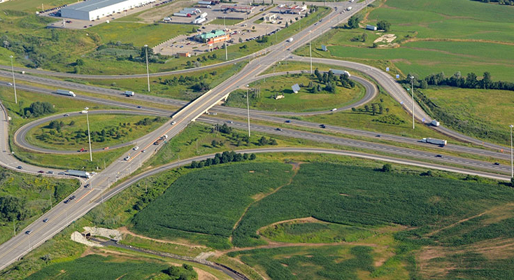 Aerial view of Mississauga highway network in Ontario Canada