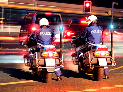 German Federal Police patrol traffic in Hamburg