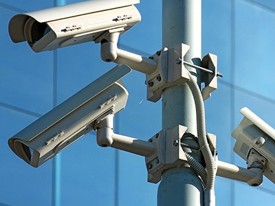 Closeup of security cameras